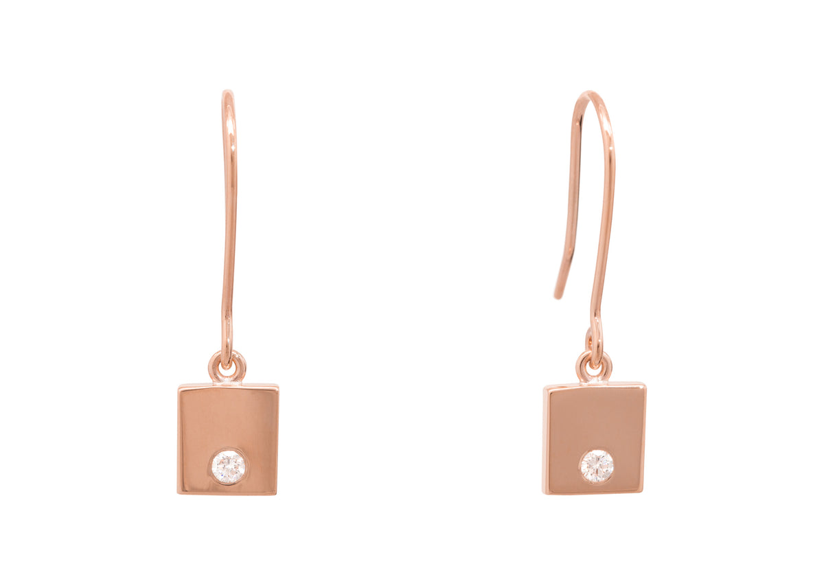 "Square ""Love Stories"" Diamond Earrings, Red Gold"