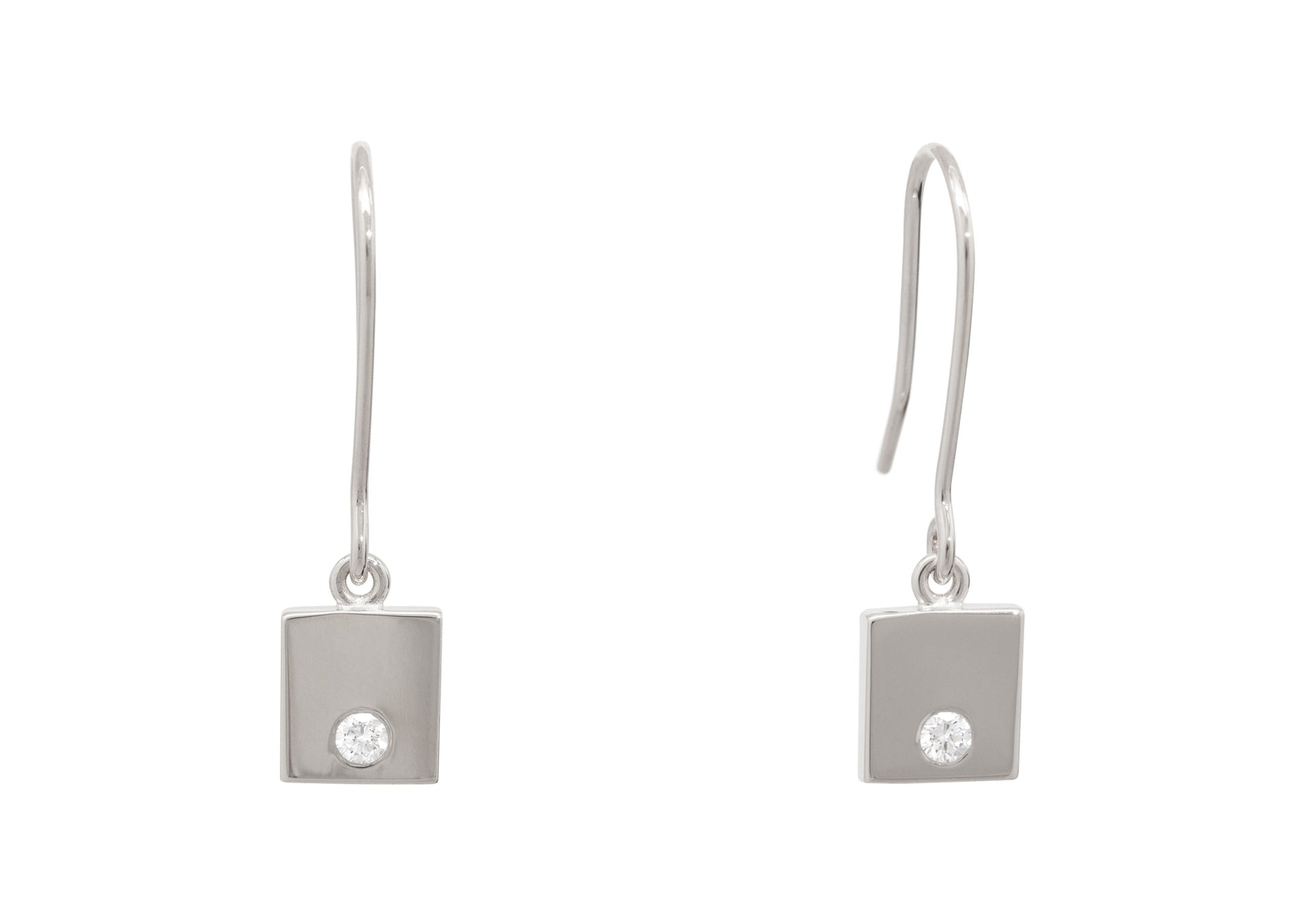 Square Love Stories Diamond Earrings, Sterling Silver
