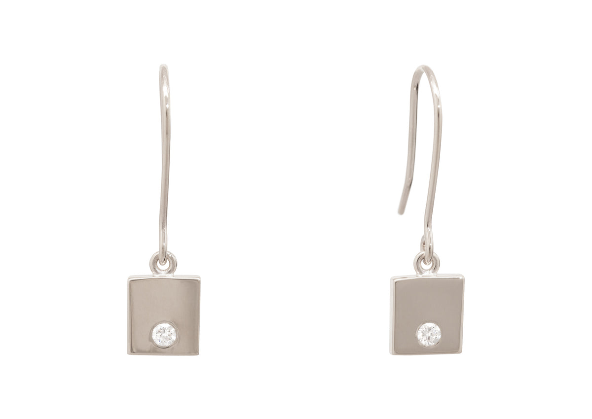 "Square ""Love Stories"" Diamond Earrings, White Gold & Platinum"