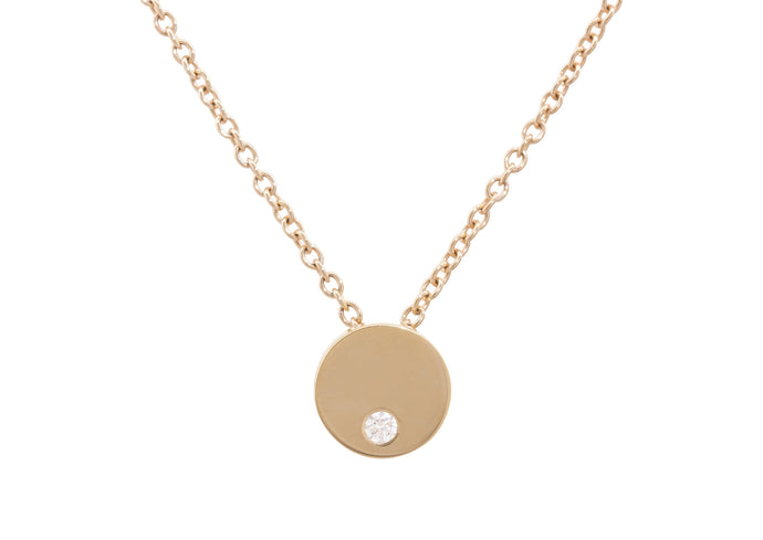 Round Love Stories Diamond Pendant, Yellow Gold