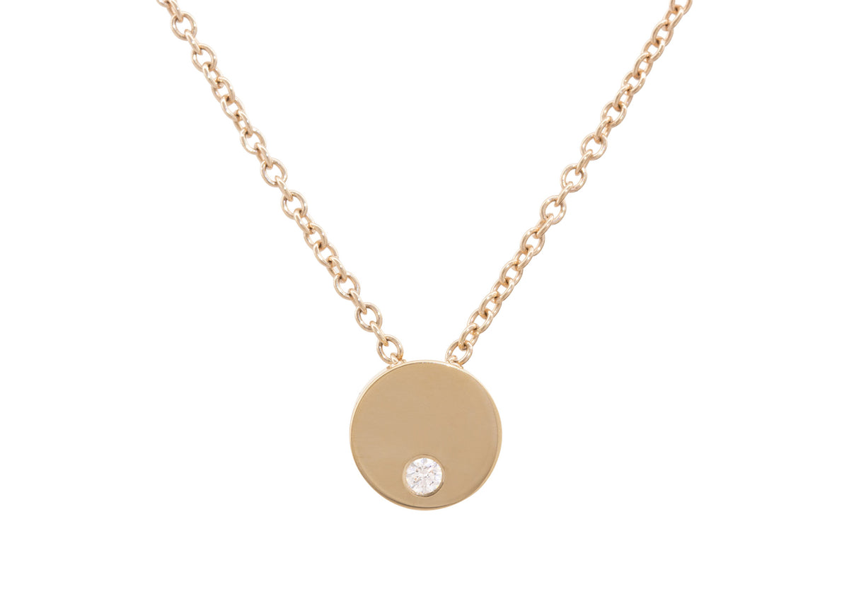 "Round ""Love Stories"" Diamond Pendant, Yellow Gold"
