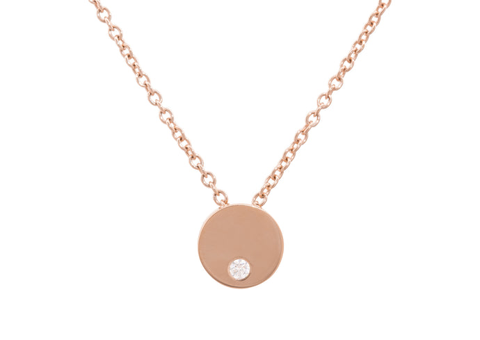 Round Love Stories Diamond Pendant, Red Gold