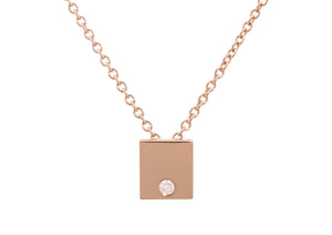 Square Love Stories Diamond Pendant, Red Gold