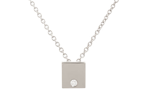 "Square ""Love Stories"" Diamond Pendant, White Gold & Platinum"