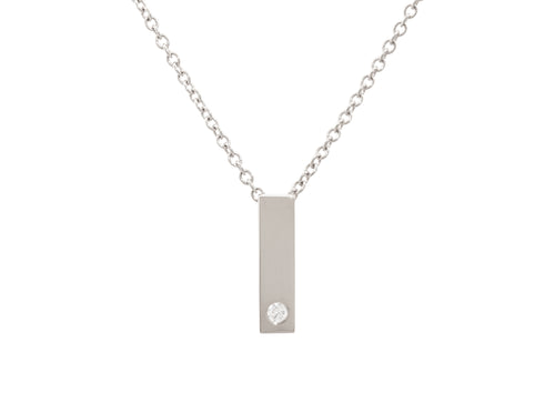 "Rectangle ""Love Stories"" Diamond Pendant, White Gold & Platinum"