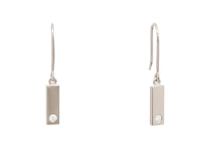 "Rectangle ""Love Stories"" Diamond Earrings, White Gold & Platinum"