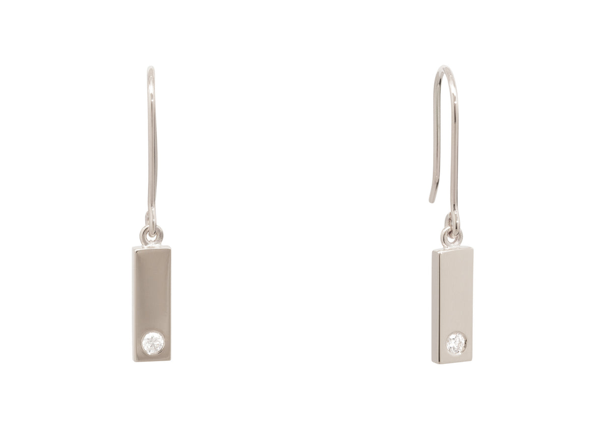 Rectangle Love Stories Diamond Earrings, White Gold & Platinum