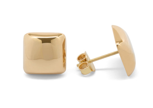Square Domed Studs, Yellow Gold