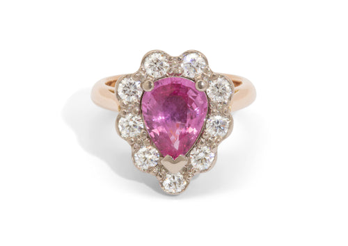 Custom Pink Sapphire & Diamond Halo Ring, Red & White Gold