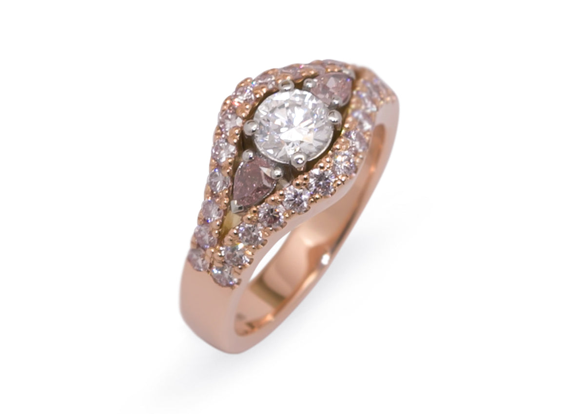 Custom Pink & White Diamond Ring, Red Gold & Platinum
