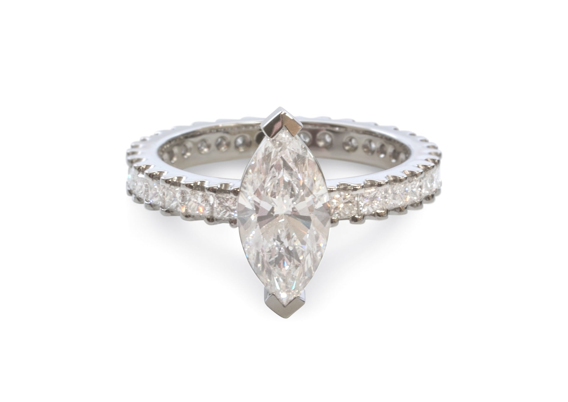 Custom Marquise & Princess Diamond Engagement Ring, Platinum