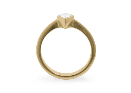 Pear Shaped Diamond Engagement Ring, Yellow Gold