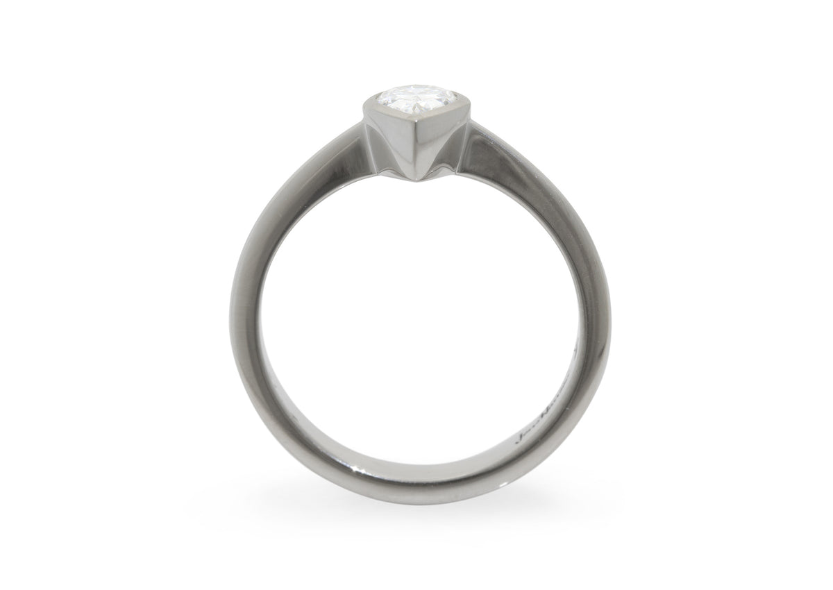 Pear Shaped Diamond Engagement Ring, White Gold & Platinum