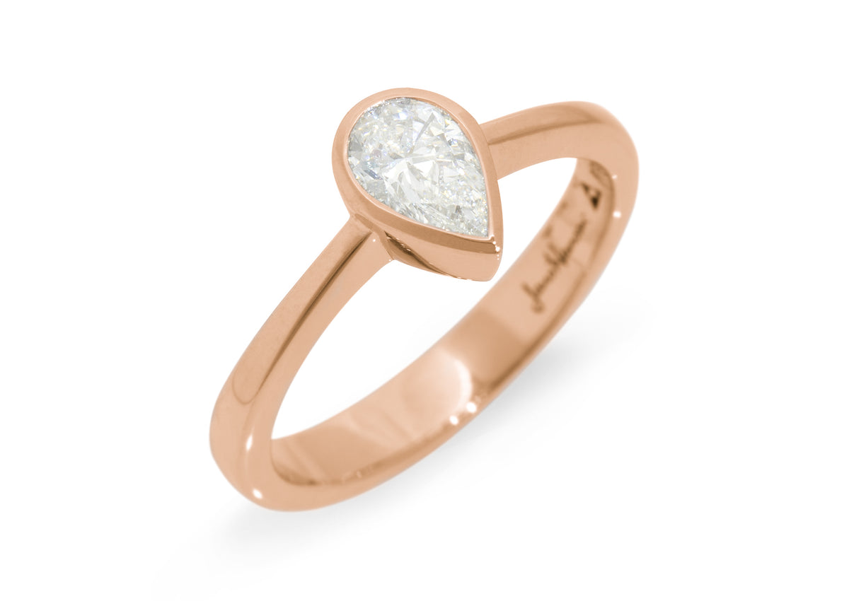 Pear Shaped Diamond Engagement Ring, Red Gold