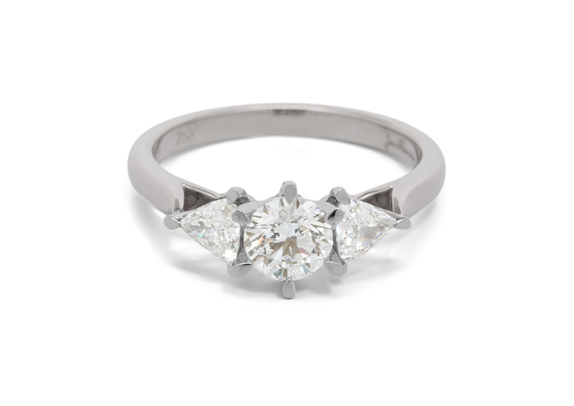 Custom Three Stone Diamond Engagement Ring, White Gold & Platinum