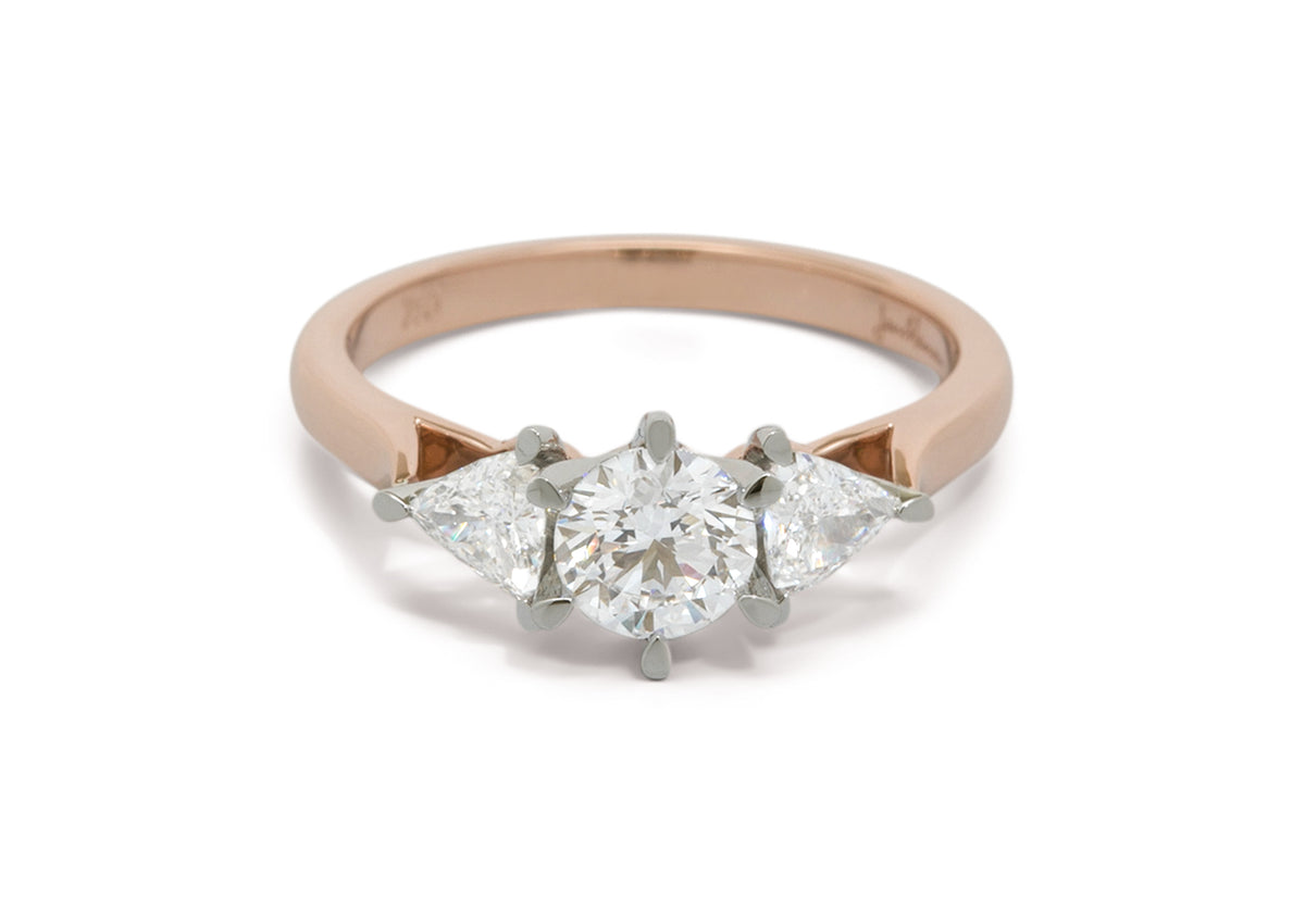Custom Three Stone Diamond Engagement Ring, Red Gold & Platinum