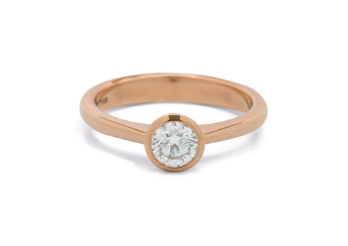 Brilliant Diamond Engagement Ring, Red Gold