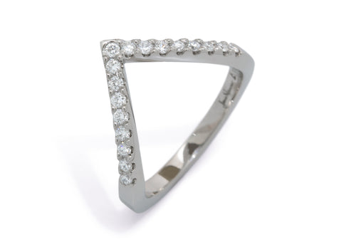 Custom Diamond Wishbone Style Wedding Band, Platinum