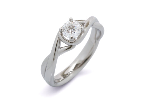 Custom Solitaire Diamond Vine Ring, Platinum