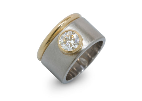 Custom Wide Bi-tone Diamond Ring, Platinum & Yellow Gold
