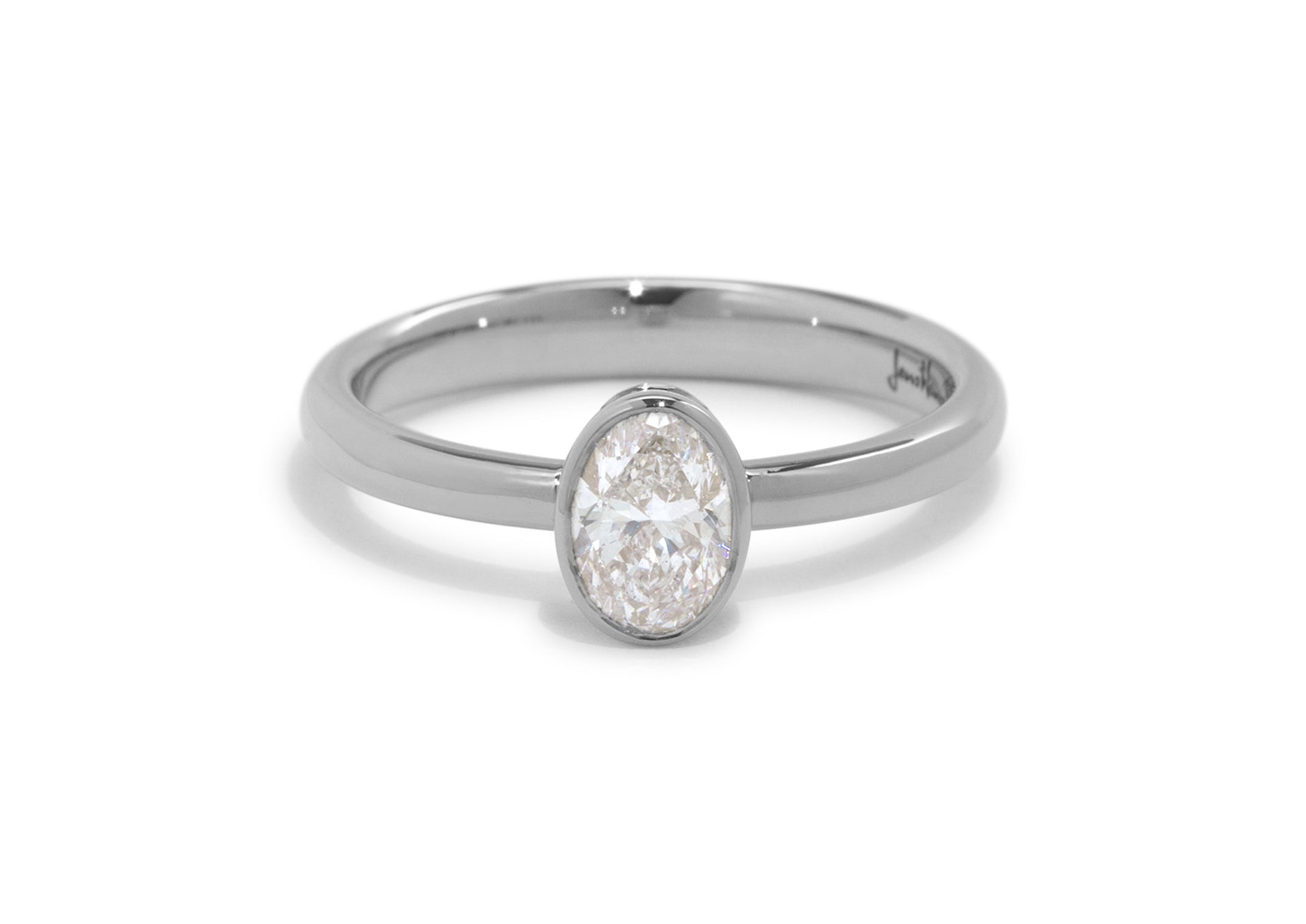 Oval Diamond Bezel Engagement Ring, White Gold & Platinum