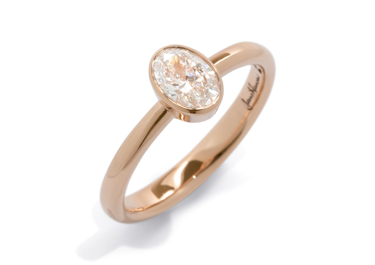 Oval Diamond Bezel Engagement Ring, Red Gold