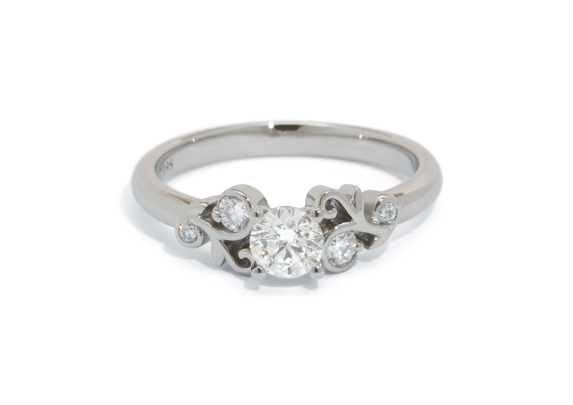 Custom Five-Stone Diamond Vine Ring, Platinum