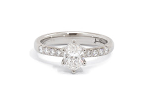 Oval Diamond Engagement Ring, White Gold & Platinum
