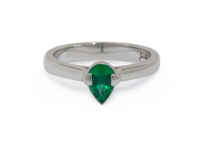 Custom Pear Shaped Emerald Ring, Platinum