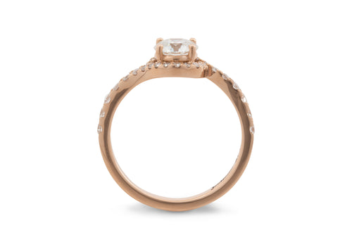 Custom Bypass Halo Lab Grown Diamond Ring, Red Gold
