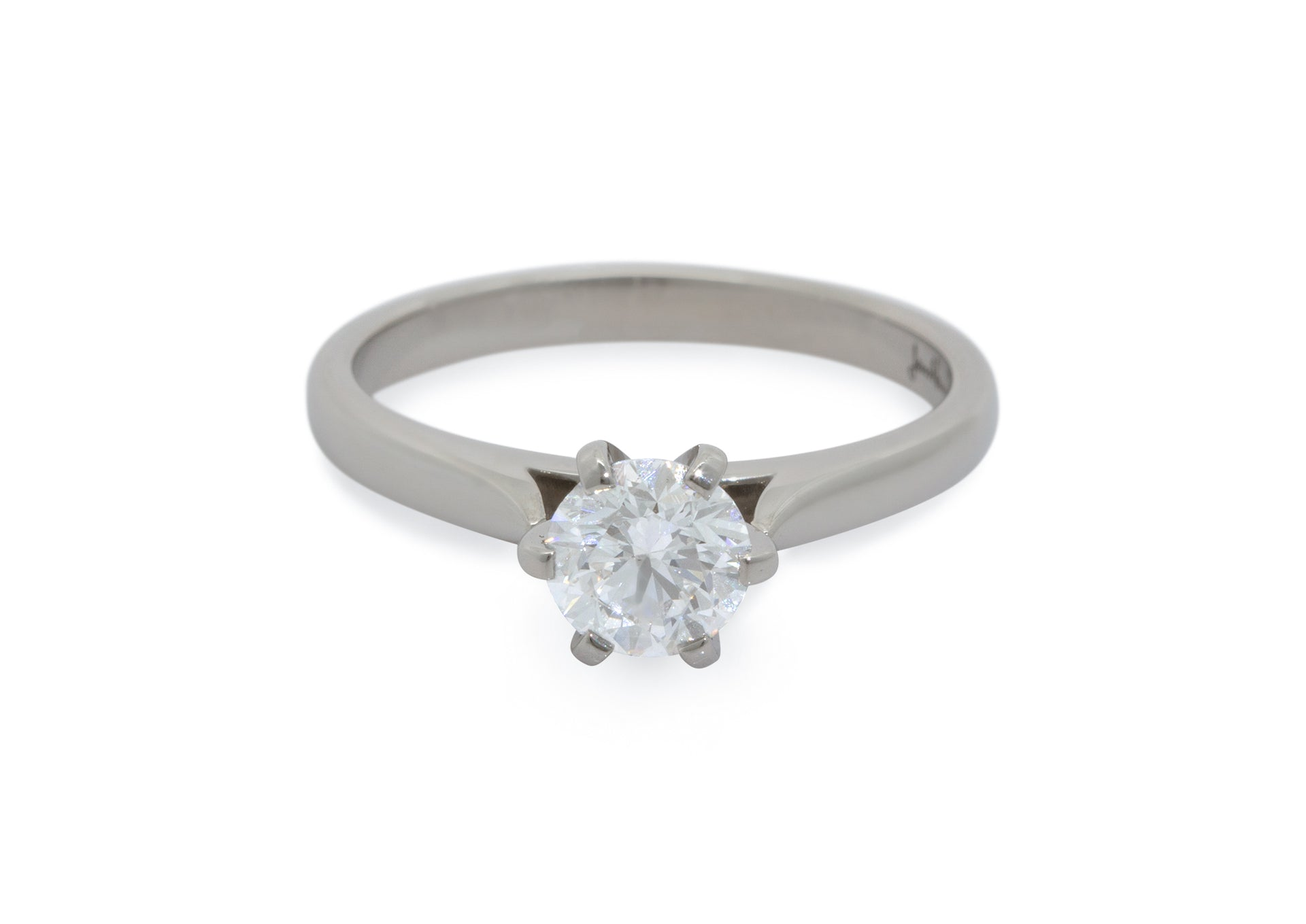 Custom Diamond Cathedral Set Engagement Ring, Platinum