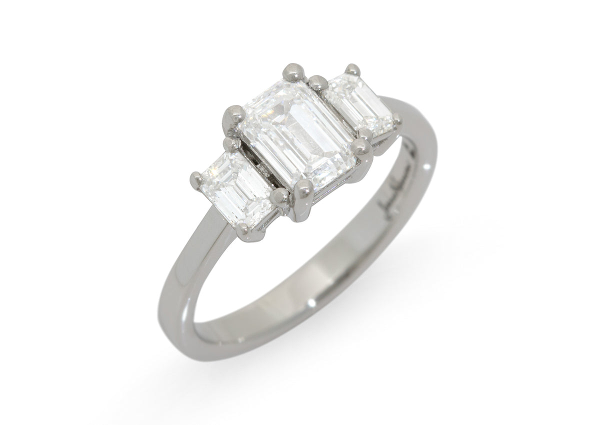 Custom 3 Stone Rectangle Diamond Engagement Ring, Platinum