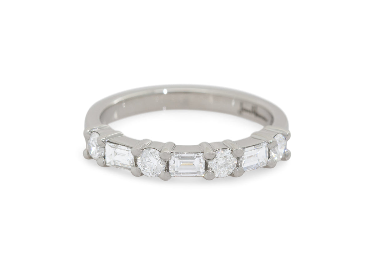 Custom Alternating Baguette and Round Diamond Wedding Band, Platinum