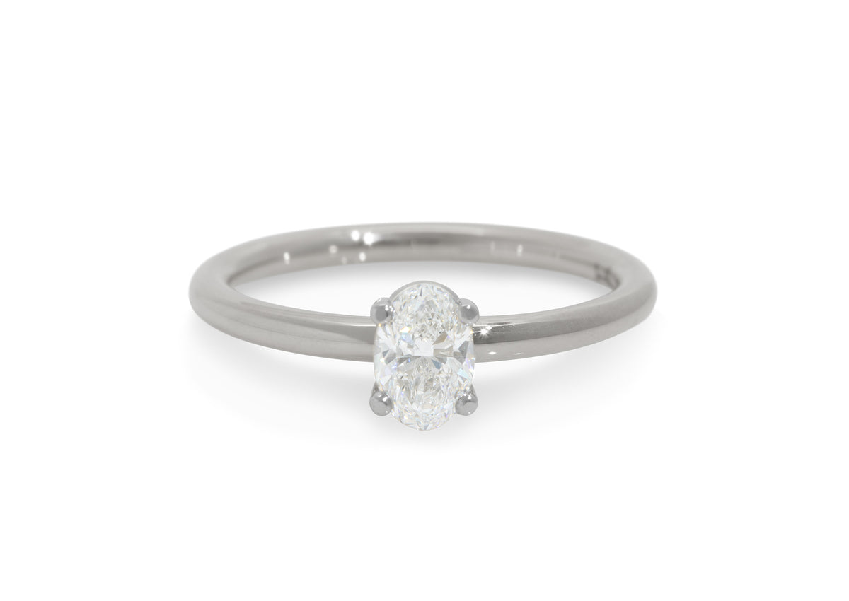 Ellipse Diamond Engagement Ring, White Gold & Platinum