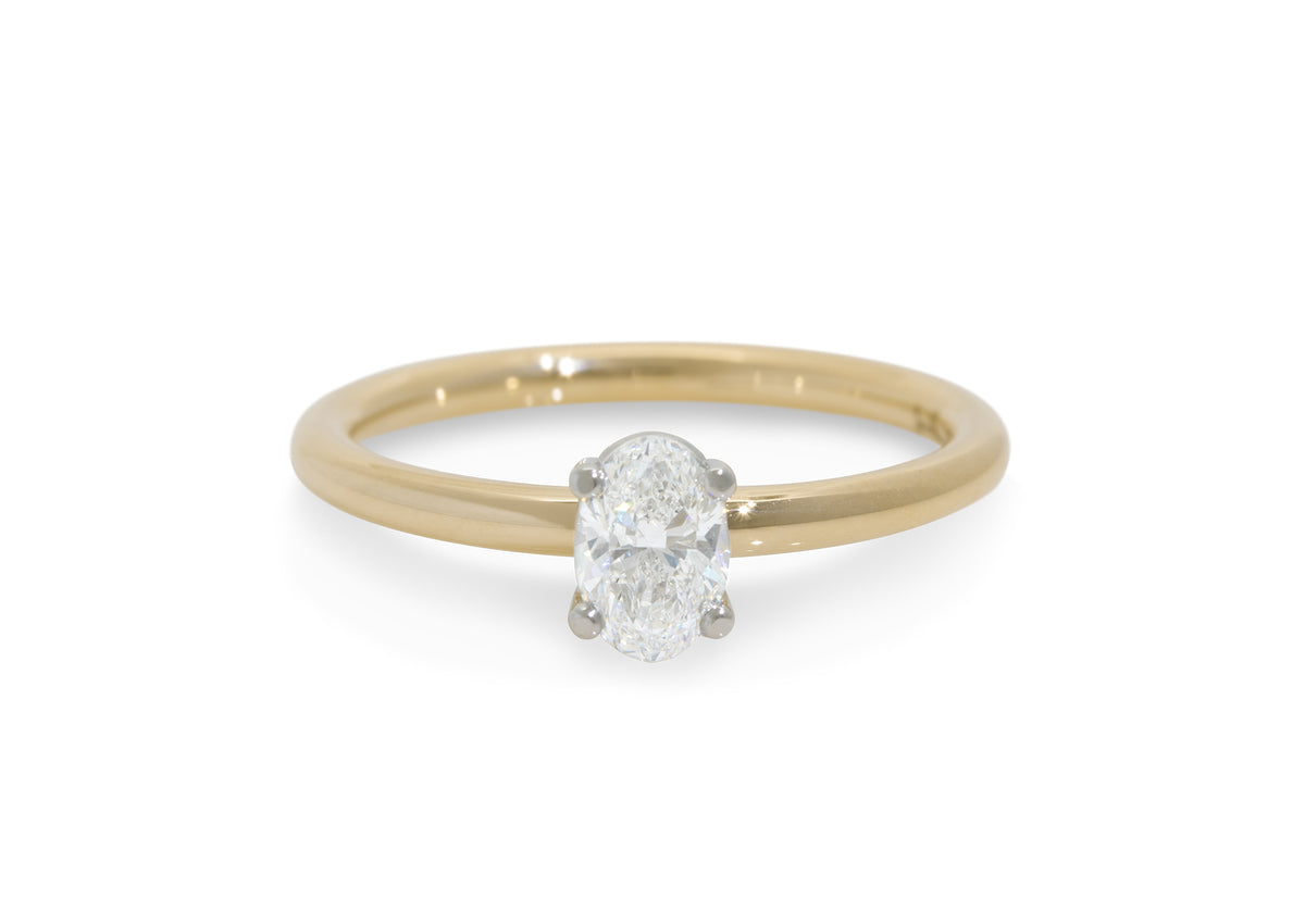 Ellipse Diamond Engagement Ring, Yellow Gold & Platinum