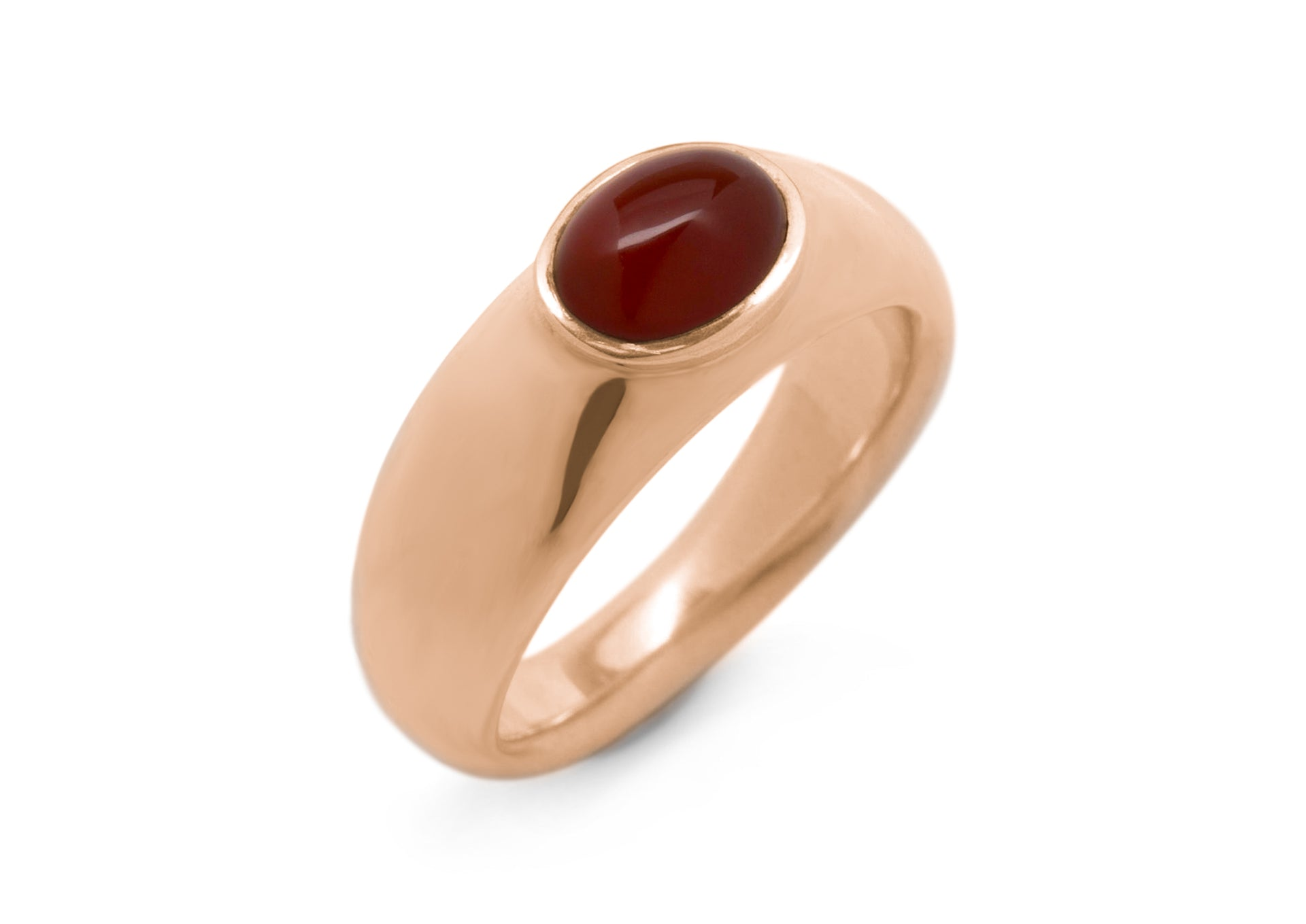 Splendid Cabochon Gemstone Ring, Red Gold