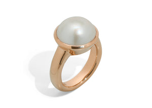 Iridescent Mabe Pearl Ring, Red Gold