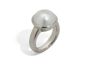 Iridescent Mabe Pearl Ring, Sterling Silver