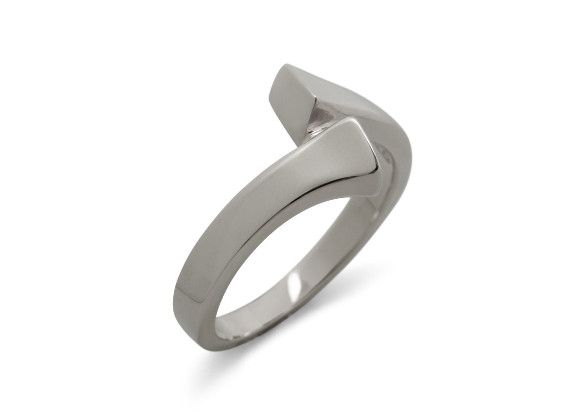 Geometric Dress Ring, White Gold & Platinum