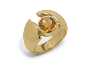 Remarkable Round Gemstone Ring, Yellow Gold