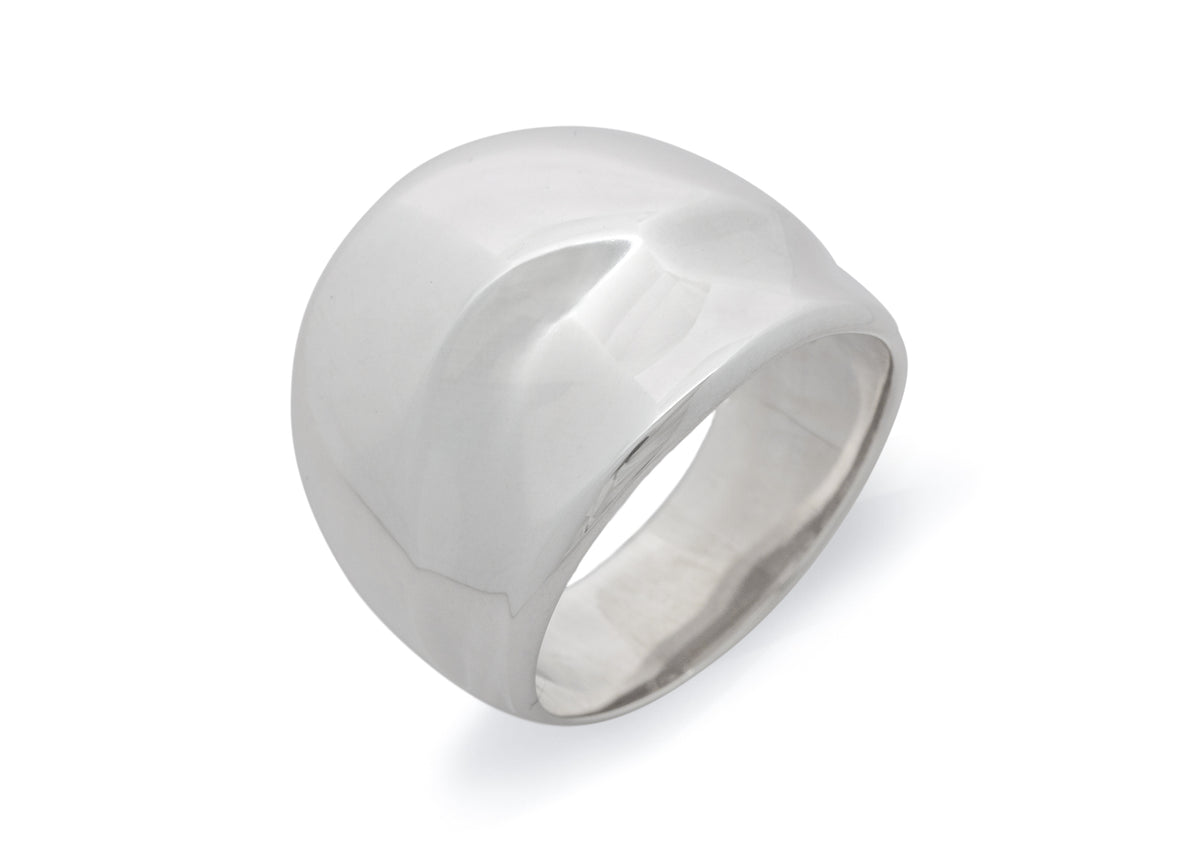 Wide Domed Wave Ring, All Metals