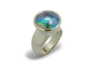 Luminescent Pāua Pearl Ring, White Gold & Platinum