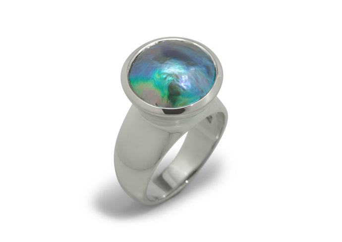 Luminescent Pāua Pearl Ring, Sterling Silver