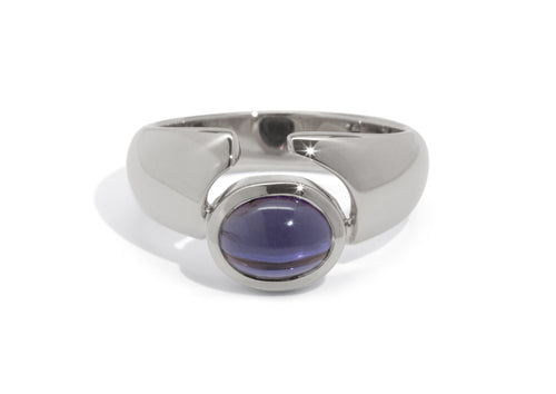 Horizontal Oval Cabochon Gemstone Ring, Sterling Silver