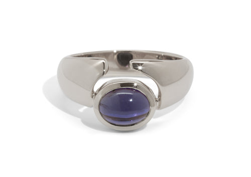 Contemporary Cabochon Gemstone Ring, White Gold & Platinum
