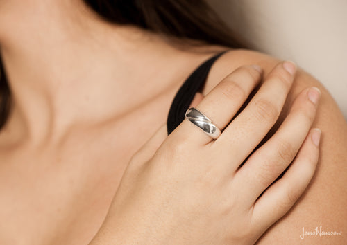 Geometric Domed Ring, Sterling Silver