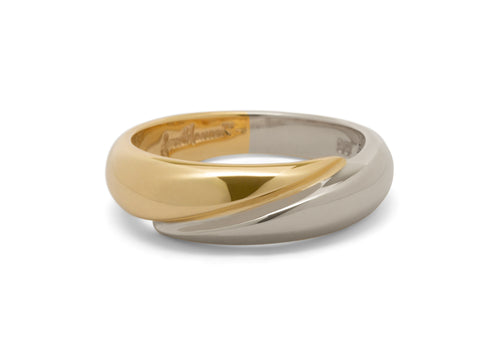 Geometric Domed Bitone Ring, Yellow & White Gold