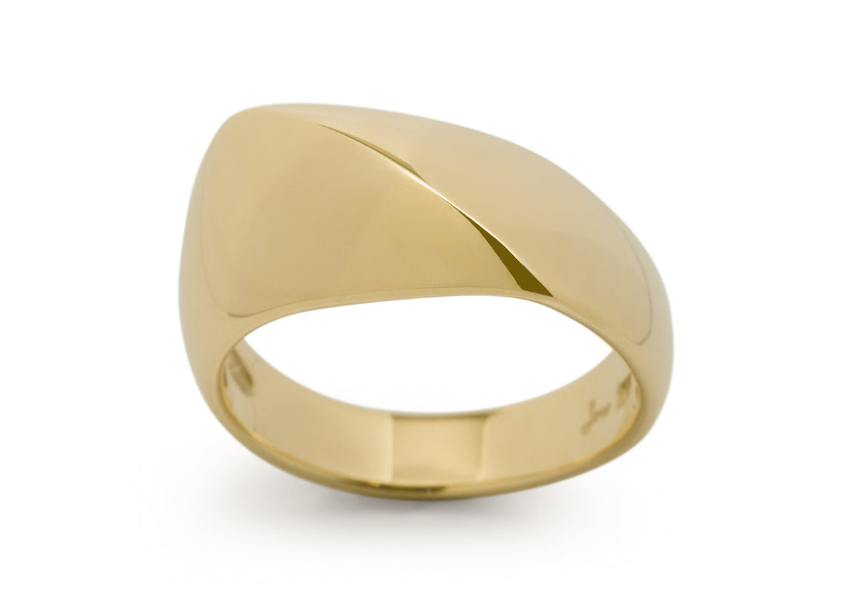 Diagonal Dome Ring, Yellow Gold
