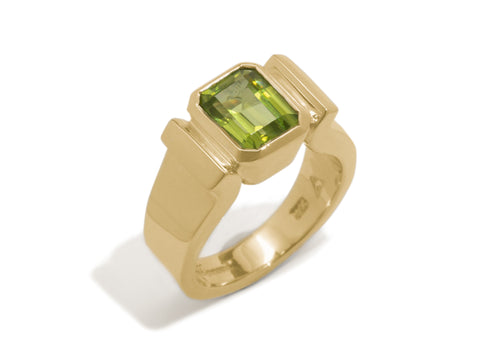 Emerald cut Gemstone Ring, Yellow Gold