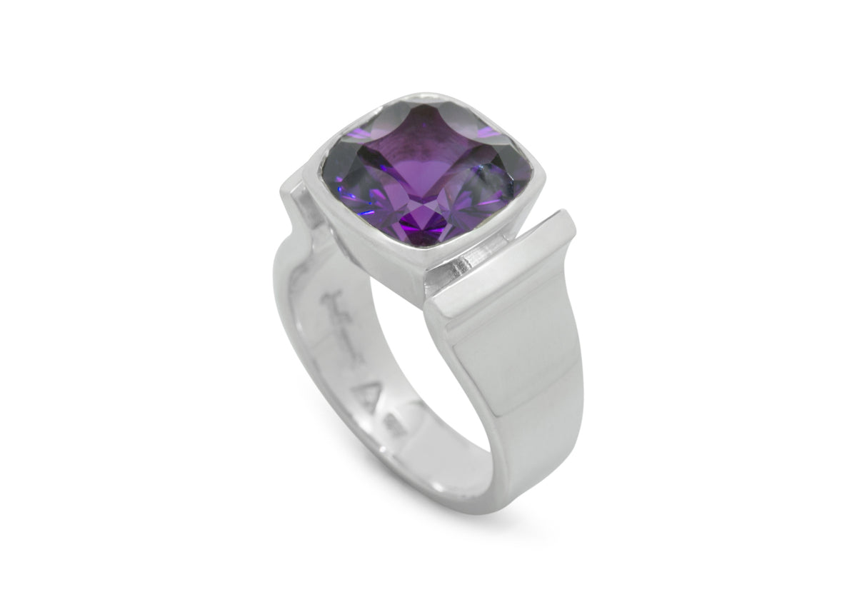 Cushion Optix Cut Gemstone Ring, Sterling Silver